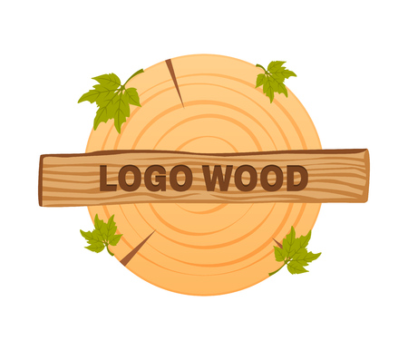 Wooden icons, vector wooden sawn rings, cut sections of trunk. Vettoriali