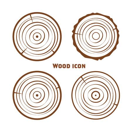 Houten pictogrammen, vector houten gezaagde ringen, gesneden delen van de stam.