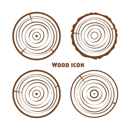 Wooden icons, vector wooden sawn rings, cut sections of trunk. Stock Illustratie
