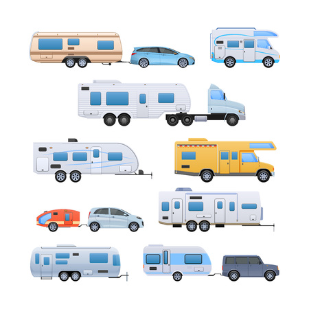vehicle trailer, camping, family traveling by car, mobile homes.