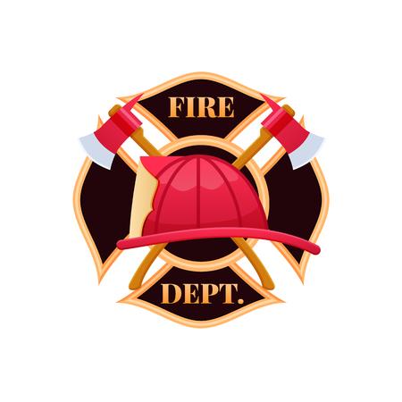 Casco antincendio rosso in plastica, lotta contro il fuoco. Icona con il logo del reparto antincendio. Logo