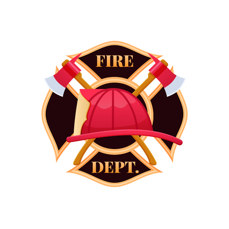 Plastic red fire helmet, fighting fire. Fire dept logo icon.