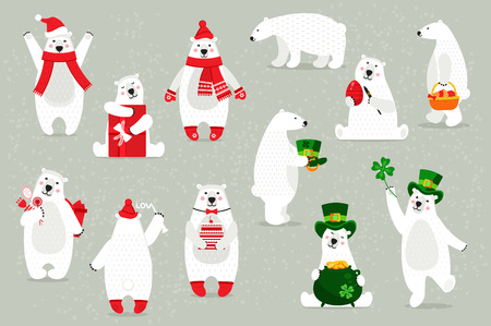 Set of white polar bears, in festive headdresses, accessories.