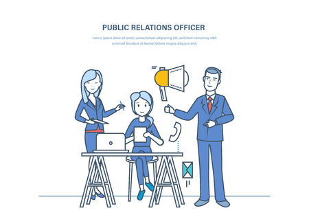 Public relations officers. Communication, marketing, pr, managing peoples opinions. Illustration