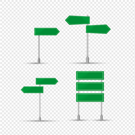 Green sign of designation of settlements, direction of movement. Sign green square, arrows on metal stand. Landmark on road for car driver. Traffic sign on transparent background. Vector illustration. Ilustrace