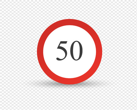 Road sign, designation, restriction of maximum speed of movement along road in transport, signal of speed of car and other mechanical vehicles. Traffic Laws. Vector illustration isolated. Banque d'images - 104297255