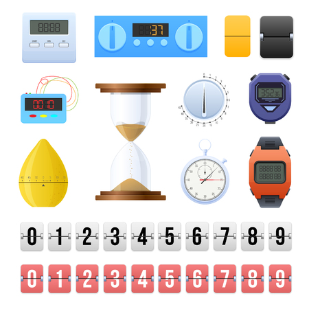 Big set digital and mechanical clocks, a timer, countdown counters. Sand, sports wristwatch, pocket stopwatch, timers for kitchen and household appliances, template constructor. Vector illustration.