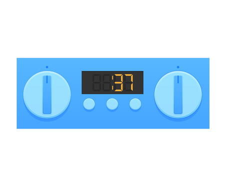 Timer, stopwatch, digital and home appliance. Digital countdown timer to indicate the end of the action, deadline. Household watches. Vector illustration isolated.