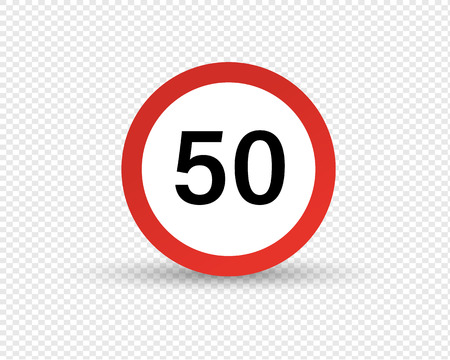 Road sign, designation, restriction of maximum speed of movement along road in transport, signal of speed of car and other mechanical vehicles. Traffic Laws. Vector illustration isolated. Stock fotó - 115005484