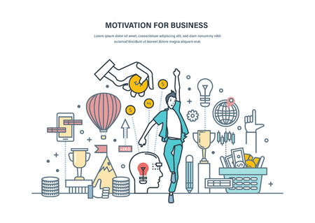 Motivation for business. Achievement of high goals, self-improvement, leadership, success in business and growth in work, career growth, financial progress. Illustration thin line vector doodles.