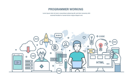 Programmer working. Programming in high-level languages, process of developing applications.