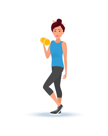 Young beautiful girl in summer sportswear, engaged in weight lifting, raises dumbbells, puts in order body by power exercises, engaged an sports, active way of life. Illustration in cartoon style.