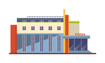 Modern facade of the cinema building, an architectural structure for recreation and entertainment. City cultural building cinema, entertainment attraction, city landscape. Vector illustration.