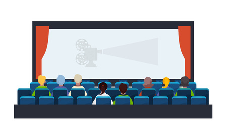 People, spectators, in cinema hall on the seats, in front of large movie screen. Time of cinema, theater hall. View on the wide screen of room. Vector illustration isolated.