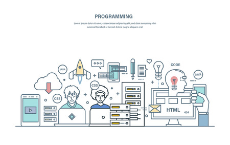Programming. Software development in high-level languages and coding. Development, coding and programming, testing of mobile applications, web sites, prototypes. Illustration thin line vector doodles.