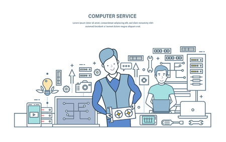 Computer service. Repair, maintenance of equipment in service center. Customer service, problem solving, electronic components, chip repair, warranty service. Illustration thin line vector doodles.