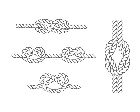 Set of various sea knots and loops. Elements for fabric, wallpaper, background, web design. Marine rope and nautical knot. Elements for hiking, swimming, domestic needs. Vector illustration isolated.