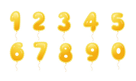 Set of golden balloons with numbers. Decoration for happy children's holiday, anniversary, carnival. Birthday fun kids party celebration. Balloons from zero to nine. Vector illustration.