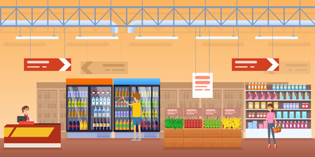 Shop, with surrounding interior, counters with food, refrigerators with drinks, stands with fruits, vegetables. Buyers, cashier near counter. Supermarket, shopping center store Vector illustration