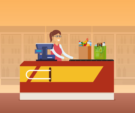 Girl cashier staff behind the counter of cash register, pierces goods, products on background of store interior with stands with drinks. Supermarket, shopping center, shop market. Vector illustration. Illustration