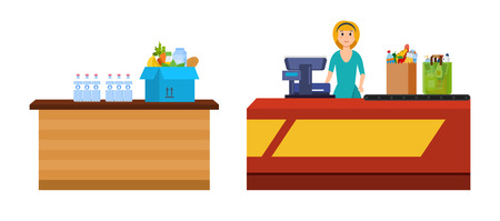 Girl cashier staff behind counter of cash register, pierce goods. Box and packages with fruits, vegetable, drinks. Shopping, in mall, supermarket, shopping center, store, magazin. Vector illustration