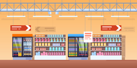 Supermarket shelves, fridge with drinks. Buying in supermarket, shopping center, store. Shelves with juice, carbonated water, alcohol. Interior room with advertising, surrounding vector illustration