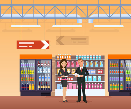 Shop, with surrounding interior, food, drinks, stands with fruits, vegetables. Man and woman, record an assortment, check quality of goods. Supermarket, shopping center store vector illustration
