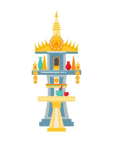 Traditional rustic Thai house of spirits land San Phra Phum.