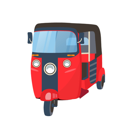 Traditional Thai mode of transport taxi tuk tuk. Thailand transportation of people, travel around the city, transportation of cargo and luggage, thai driving. Vector illustration isolated.