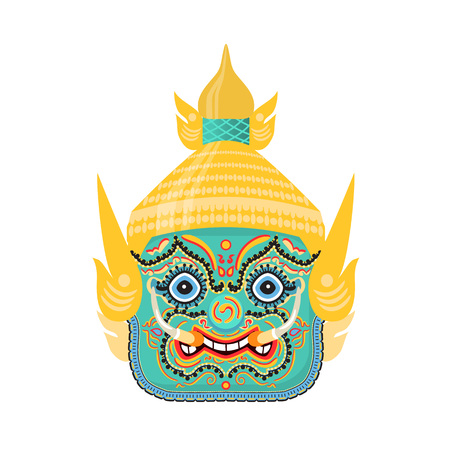 Thailand traditional colorful Hua Khon spirit of dragon mask. Carnival masquerade with mask, in Thai city, festival of street. Thailand religious holiday with costumes. Vector illustration.