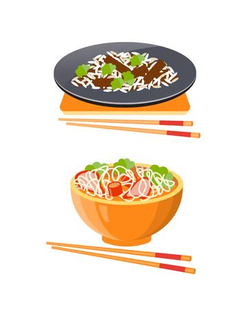 Cuisine thaïlandaise traditionnelle. Nourriture Kuai Thieu Nam - soupe thaïlandaise avec des nouilles et des boulettes de poulet, et un plat thaïlandais de riz pad tai avec de la viande et des crevettes. Illustration vectorielle isolée.