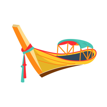 Modern thai wooden boat with oars. Water thai transport, fishing boat, travel and hobbies. Thailand transport for entertainment, attractions, river and sea holidays, side view. Vector illustration. Иллюстрация