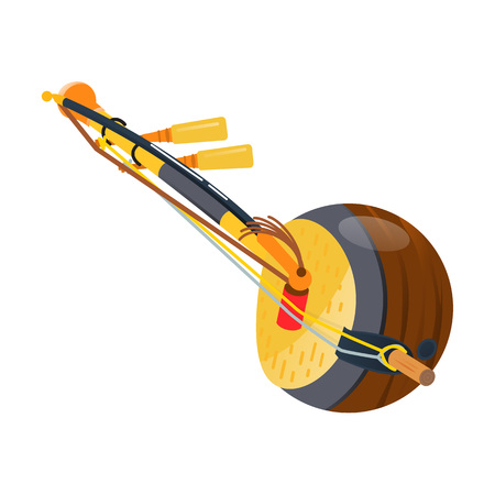 Wooden guitar, thai traditional three-stringed tool kokyu, instrument. Holiday, music on acoustic tool. Thailand carnival, festival. Thai realistic musical string instrument. Vector illustration.
