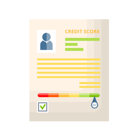 Credit paper document with rating, history, statistics and indicators of creditworthiness and solvency. Colorful scale with the divisions from minimum to maximum. Vector illustration.