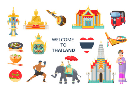 Set of Welcome to Thailand. Traditions, culture Thailand. Ancient memorials, buildings Bangkok, musical instruments, clothing, food, Thai boxing, transport boat, tuk tuk vector illustration isolated Illustration