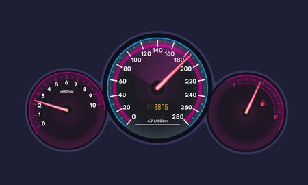 Forme de tableau de bord d'instrument, avec tachymètre de véhicule, compteur de vitesse de voiture, échelle de niveau d'essence, tableau de néon chromé. Vitesse de mesure, panneau de capteurs technologiques avec flèches. Illustration vectorielle. Vecteurs