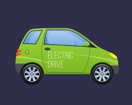 Beautiful green double-seat electric vehicle, ecology automobile. Modern movement on an electric drive vehicle, car, machine, ecological mode of transport. Vector illustration.