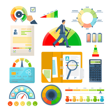 Set of indicators credit score, approval of solvency and creditworthiness, with color level from bad to good. Colorful scale of financial welfare with divisions, credit documents. Vector illustration.