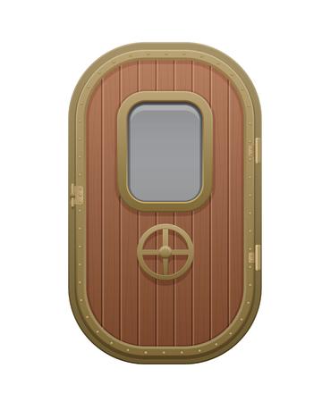 Wooden door with glazed rectangular window porthole.