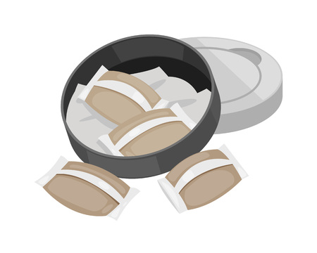 Modern realistic traditional smoking snuff without filter. Moistened tobacco in bags snus. Cigar, cigarette, paper roll with tobacco in form of powder, snuff. Concept of smoking. Vector illustration.
