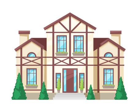 Maison de campagne colorée, chalet familial, manoir de loisirs, immobilier de style provincial. Façade d'un immeuble résidentiel. Maison familiale à deux étages avec chambres, fenêtres, plantes. Illustration vectorielle.