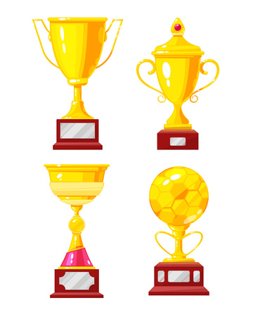 Set of gold Cup, awards. Championship winner golden trophy cup. Award for victory in sport competitions, symbol leader, champion of winner. Prize for first place in football game. Vector illustration.