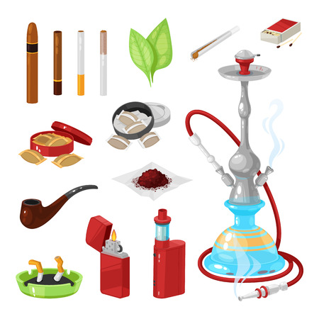 Set of smoking and bad habits. Hookah and vape with smoke and steam. Cigars, cigarettes, cigarillos and rolls in paper. Snuff and chewing tobacco powder, nicotine, tobacco leaves. Vector illustration.