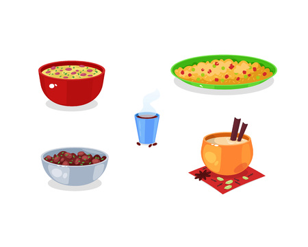 Traditional Indian food and drinks. Indian pilaf, lentil soup masurdal, red bean rajma, Indian drink masala and famous traditional coffee. Vector illustration isolated.