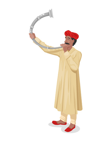 Indian man in traditional clothes with headdress, playing the musical instrument on horn, brass instrument. Cultural value, musical indian accompaniment for holidays, festivals. Vector illustration.