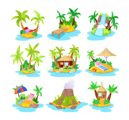 Set of cartoon tropical islands, tropical hotels in ocean with palm trees, bungalow, volcano, waterfall. Summer landscape of nature, for relaxation, travel. Landscape of island. Vector illustration.