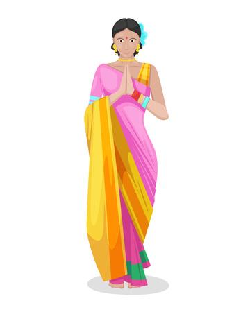 Piękna indyjska młoda dziewczyna, kobieta w kolorowym tradycyjnym stroju sari, wita mając złożone ręce w określony sposób z dłońmi skierowanymi do siebie, kobiety indian. Ilustracja wektorowa na białym tle.