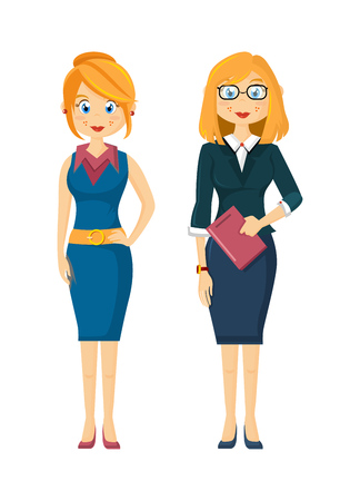 Beautiful, young girls, businesswoman, entrepreneurs, in strict business attire. Successful business girls with glasses, with documents, beautiful hairs. Illustration in cartoon style. Vettoriali