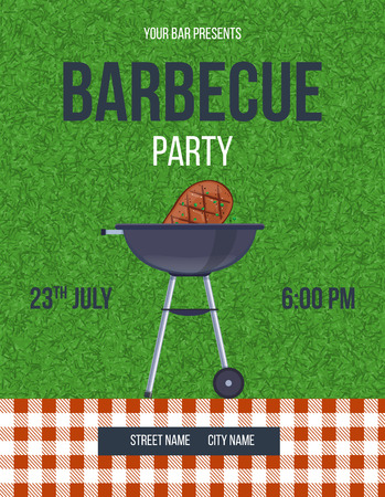 Beautiful invitation card, poster, flyer, banner, summer barbecue party, picnic in the fresh air. A holiday picnic template on a green lawn with a barbecue. Vector illustration isolated.