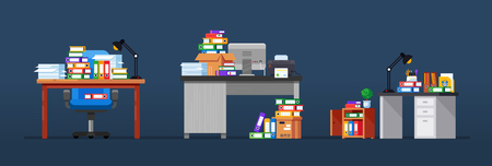 Interior of office workplaces, with tables, working equipment, mountain of documents, large pile of papers, furniture, accessories in form lighting lamps, plants, stationery. Vector illustration. Illustration